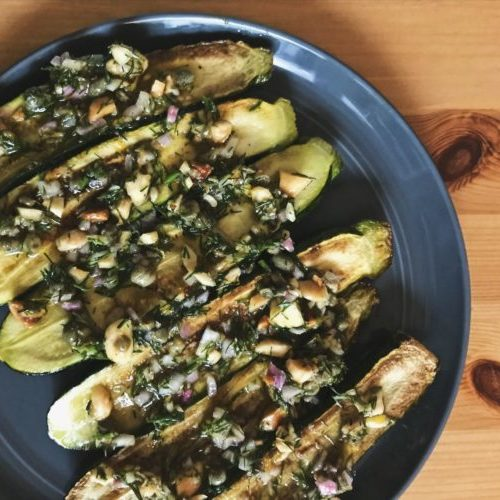 Gourmandise Seared Squash with Hazelnut Salsa
